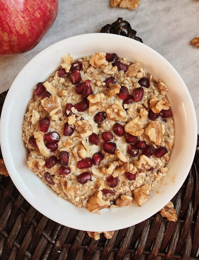 Pomegranate Walnut Baked Oats