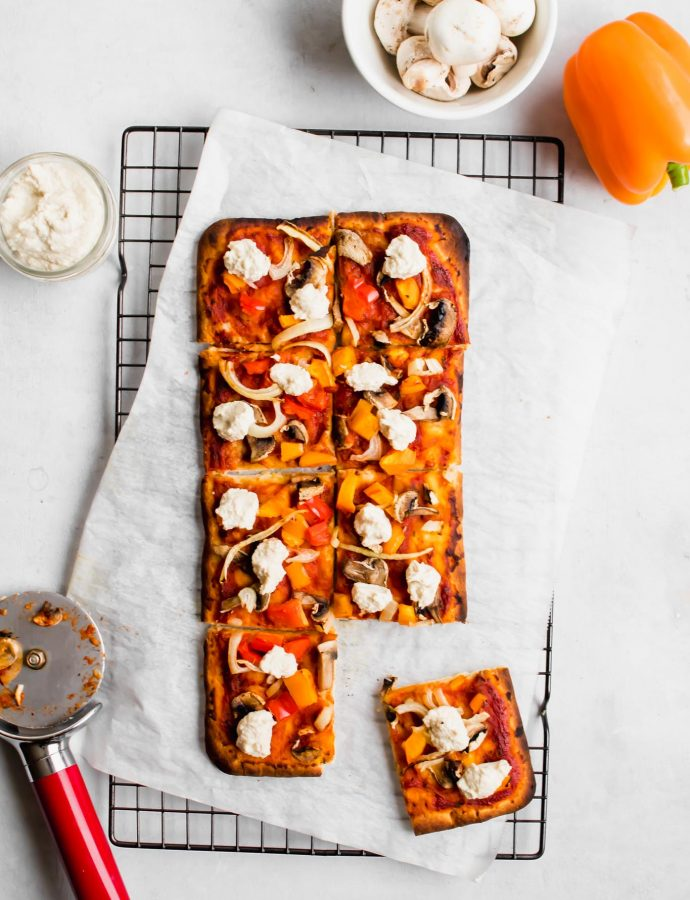 Vegan Flatbread Pizza with Cashew Ricotta
