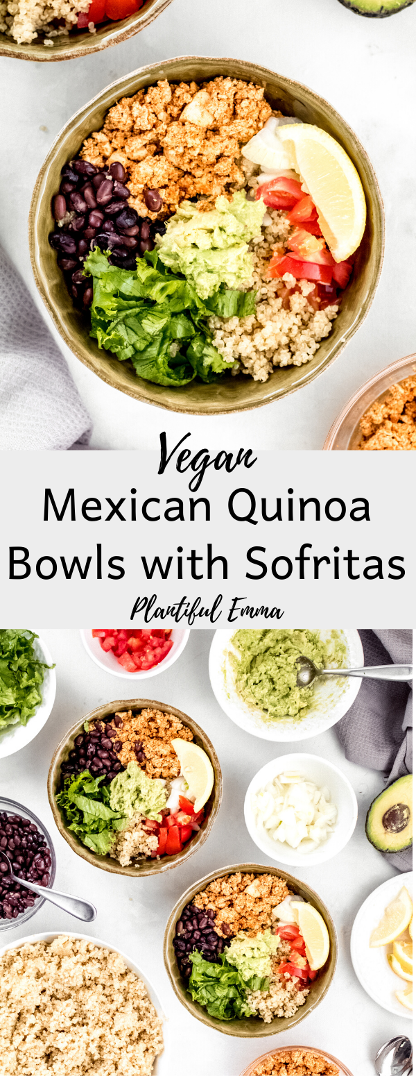 mexican quinoa bowls with tofu sofritas, black beans, onions, tomatoes, lettuce, and guacamole.