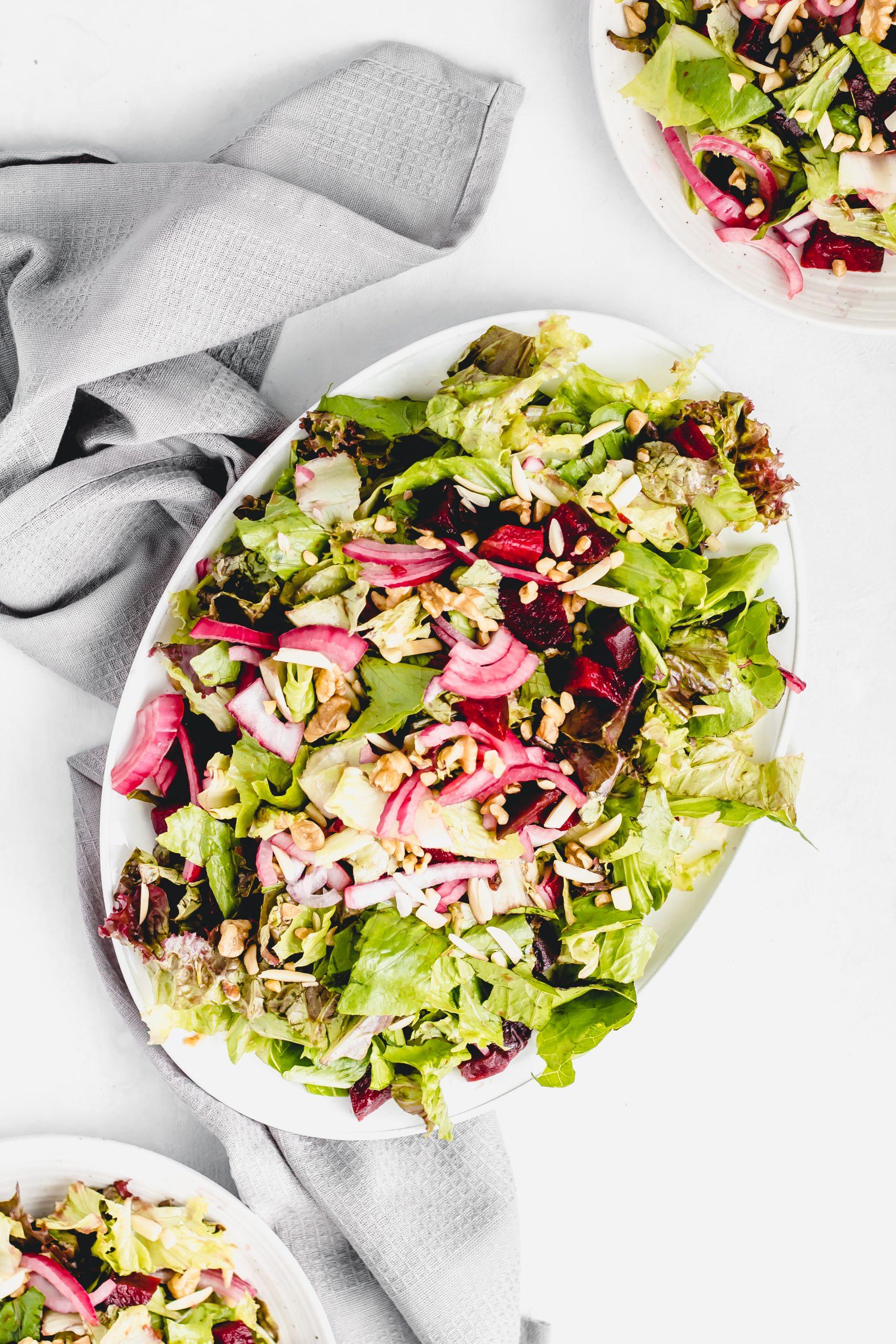 beet walnut salad with balsamic maple glaze