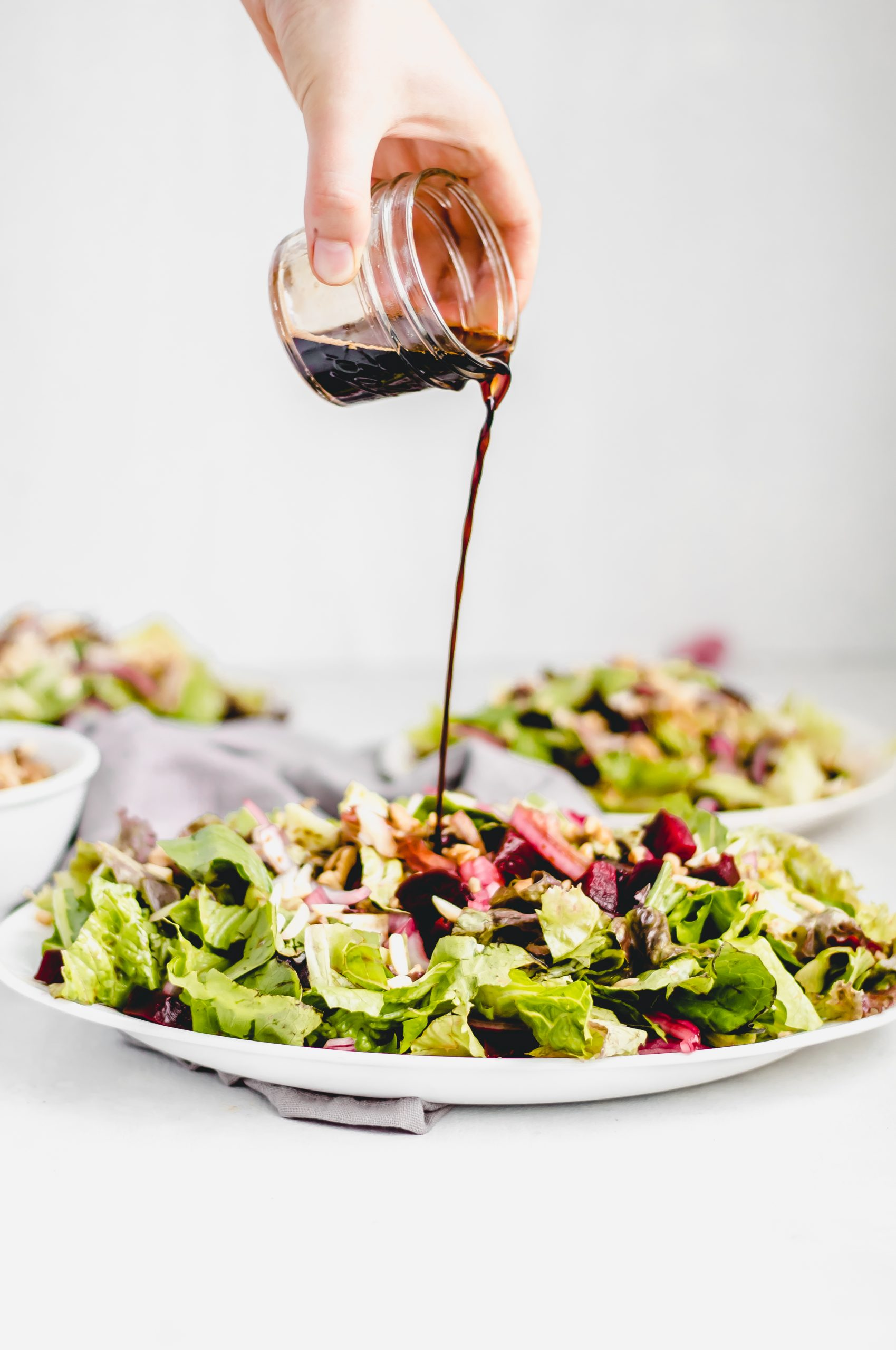 beet walnut salad with balsamic maple glaze