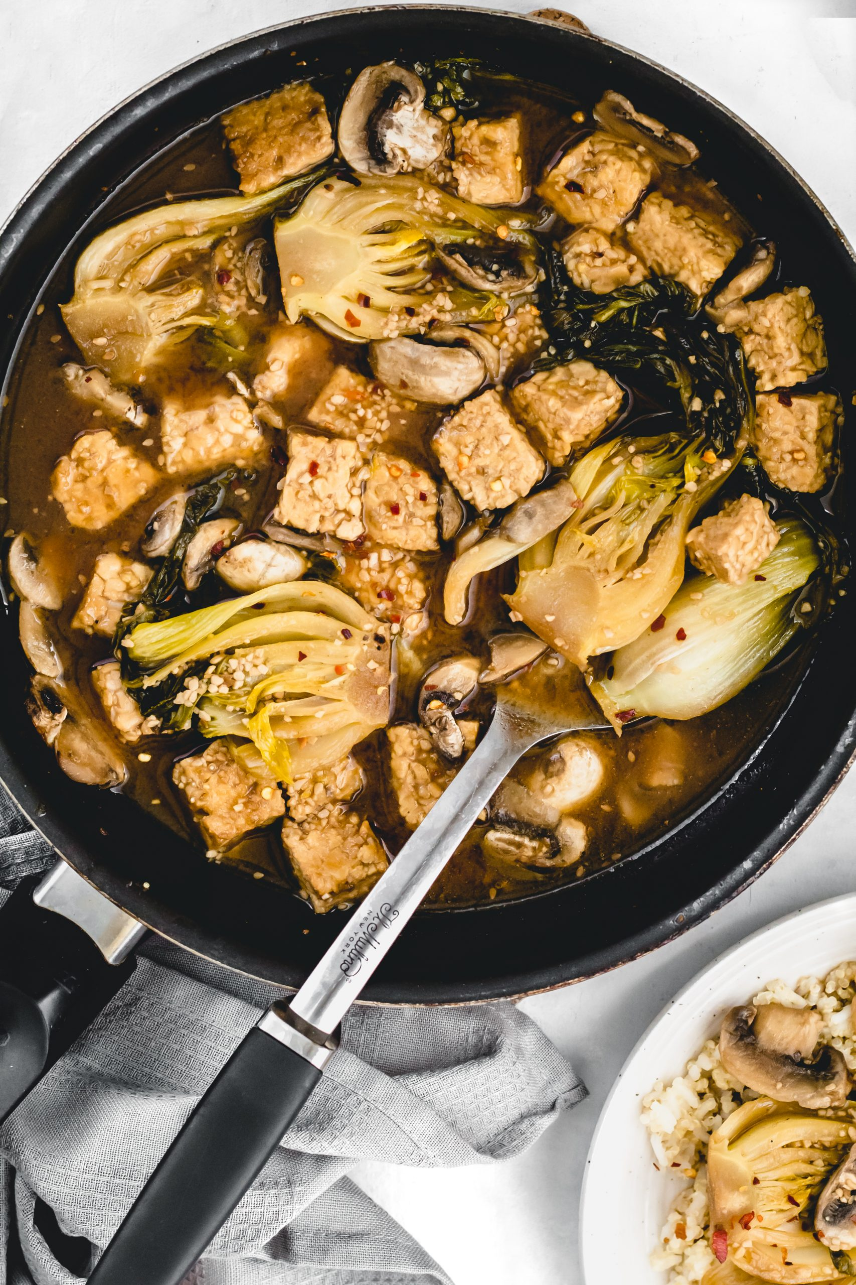 garlic bok choy and tempeh stir fry with mushrooms