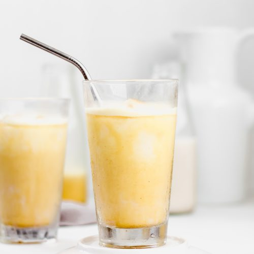 iced golden ginger latte with turmeric, ginger, cinnamon, maple syrup, and coconut milk