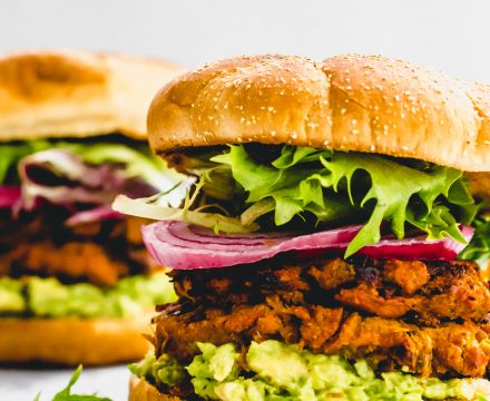 Spicy Sweet Potato and Black Bean Veggie Burgers