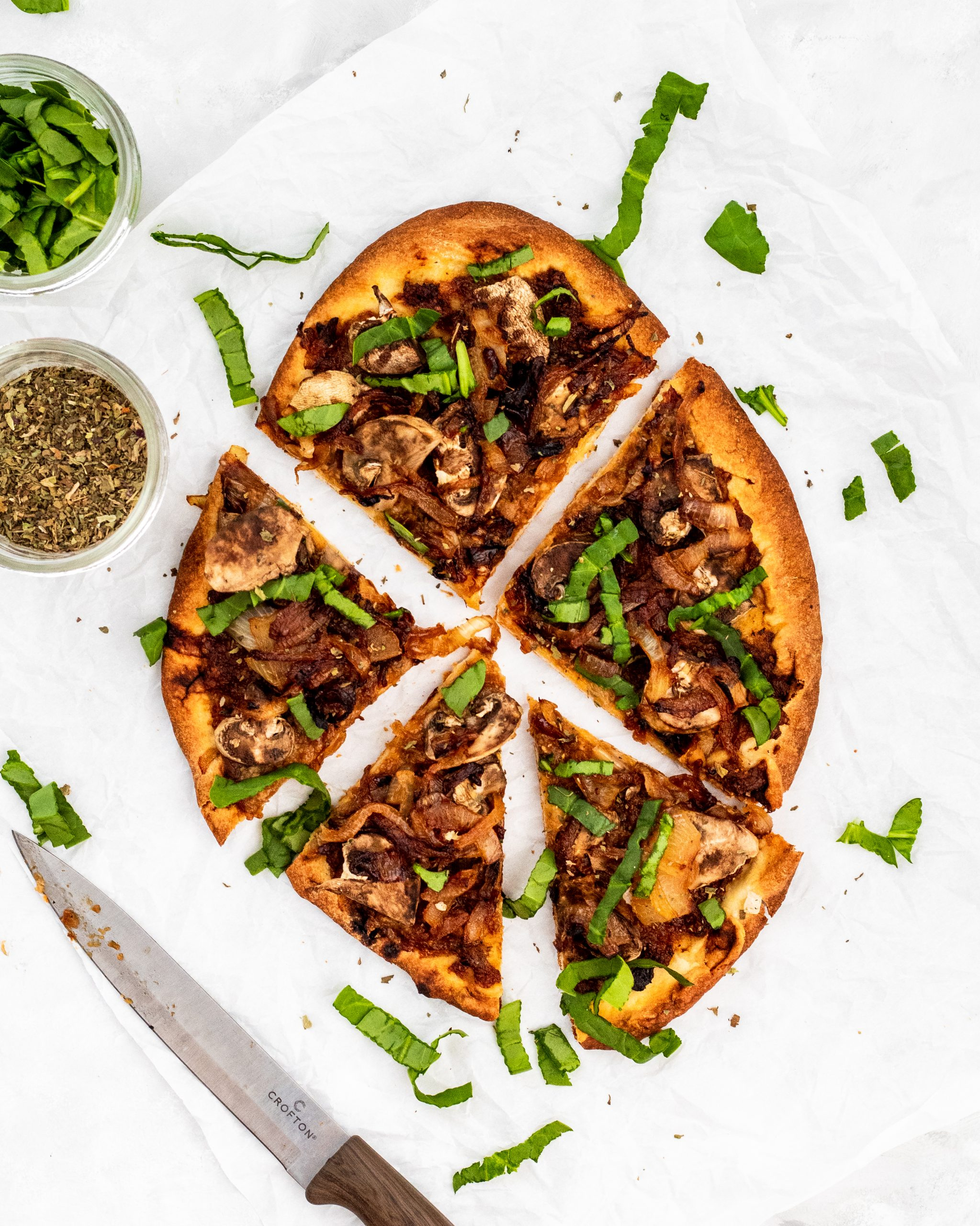 caramelized onion and mushroom naan bread pizza