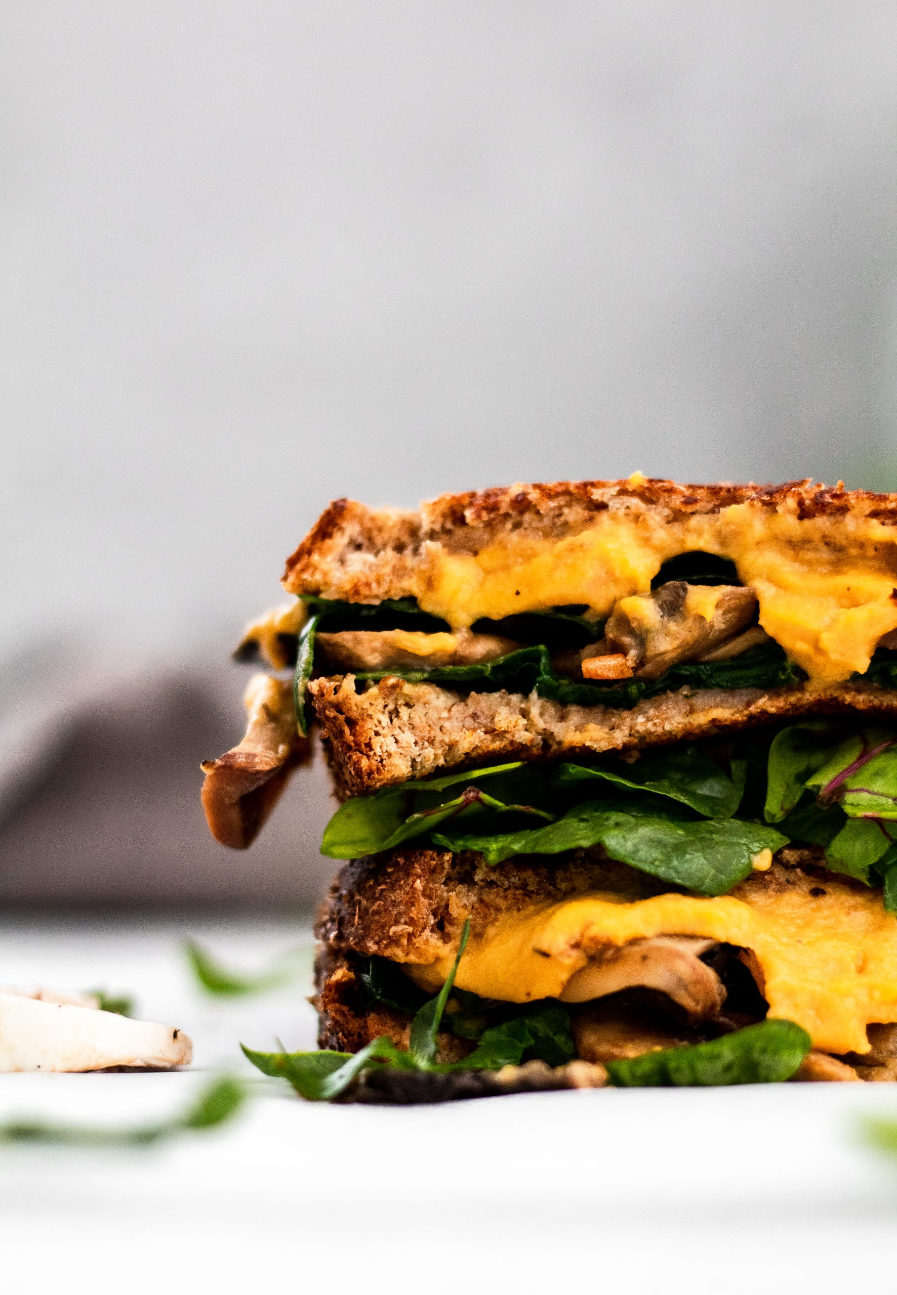 vegan mushroom and spinach grilled cheese sandwich