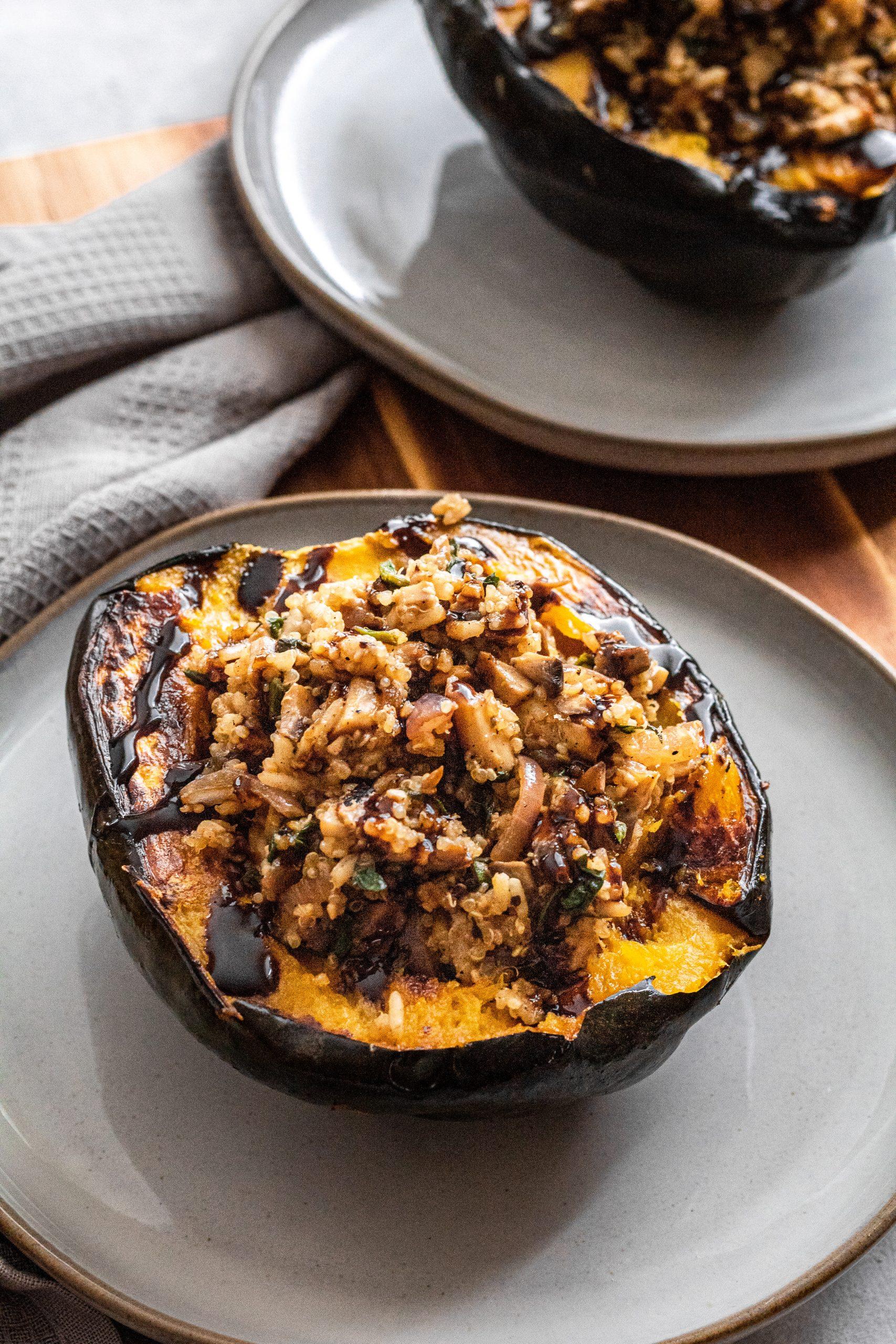mushroom and quinoa stuffed acorn squash