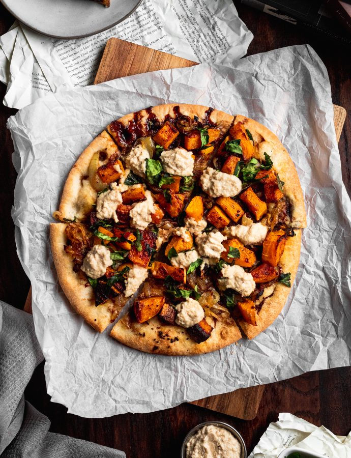Roasted Butternut Squash and Caramelized Onion Pizza with Cashew Ricotta