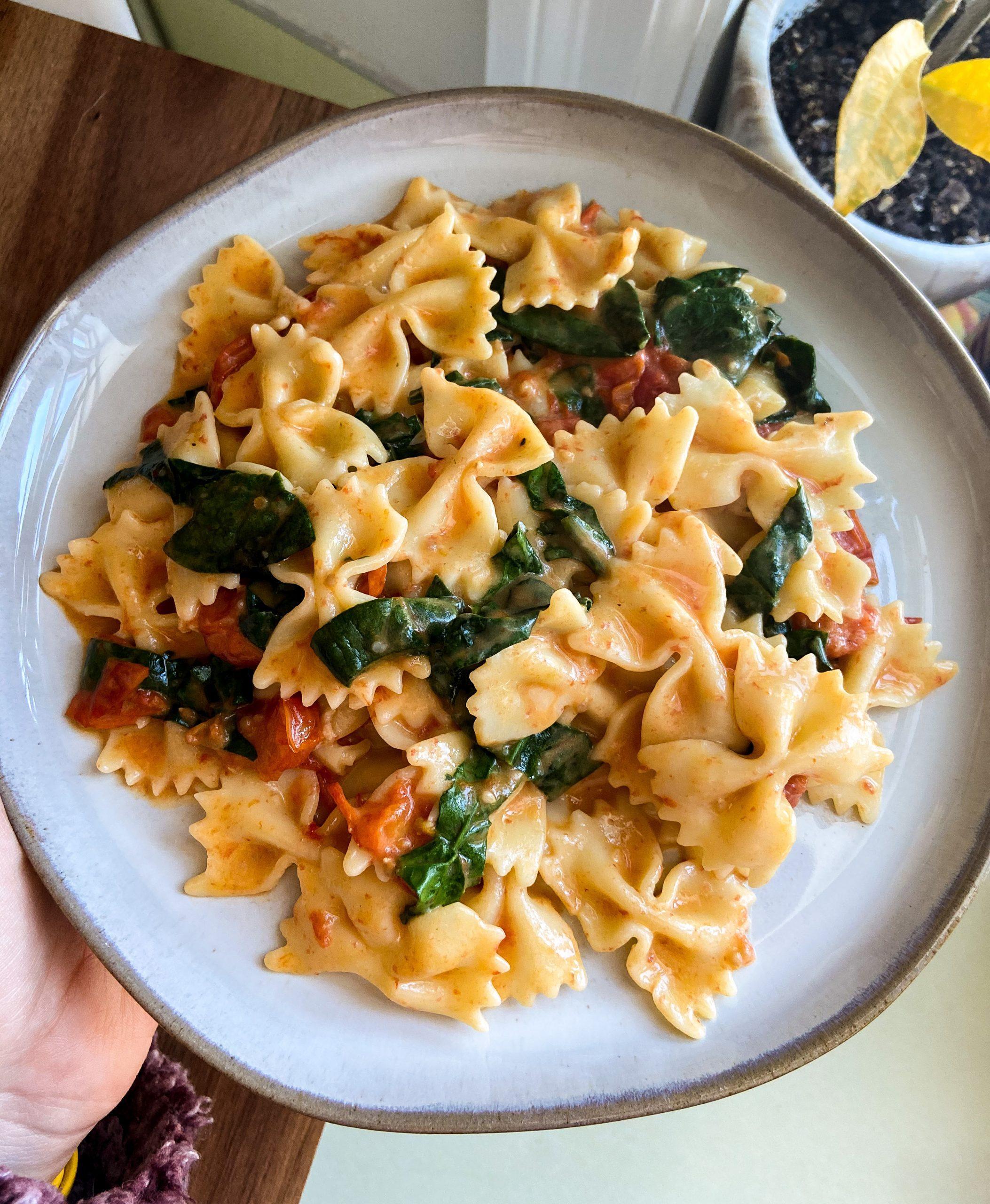 vegan feta pasta with tempeh bacon
